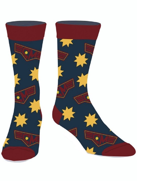 Captain Marvel Icon Casual Crew Socks Superhero Licensed Adult Mens 10-13