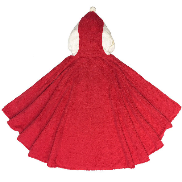 Fuzzy Santa Claus Poncho Red Plush Unisex Adult Christmas Holiday Costume OS
