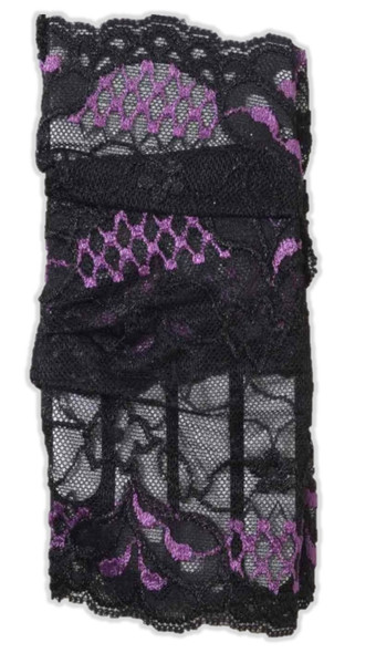Fairy Adult Black Purple Fishnet Gloves Short Fingerless Women Costume Prop New