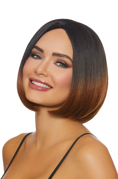 Dreamgirl Mid-Length Ombre Bob Costume Wig Women's Brunette / Caramel Brown