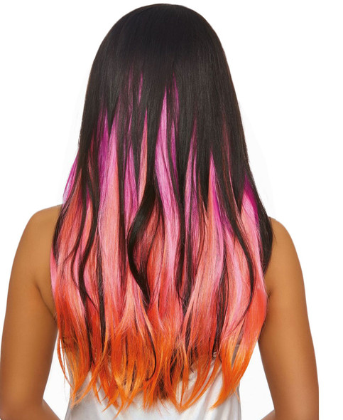 """Dreamgirl 24"""" Long Straight Layered Clip In Hair Extensions Pink/Orange/Purple"""