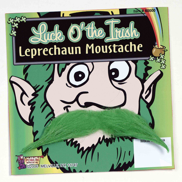 Luck O' The Irish Leprechaun Moustache St. Patricks Day Green Self Adhesive