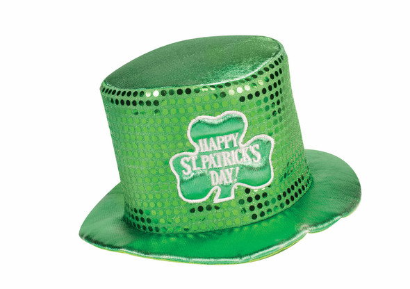 Happy St. Patrick's Day Green Shamrock Sequined Hat Party Costume Accessory