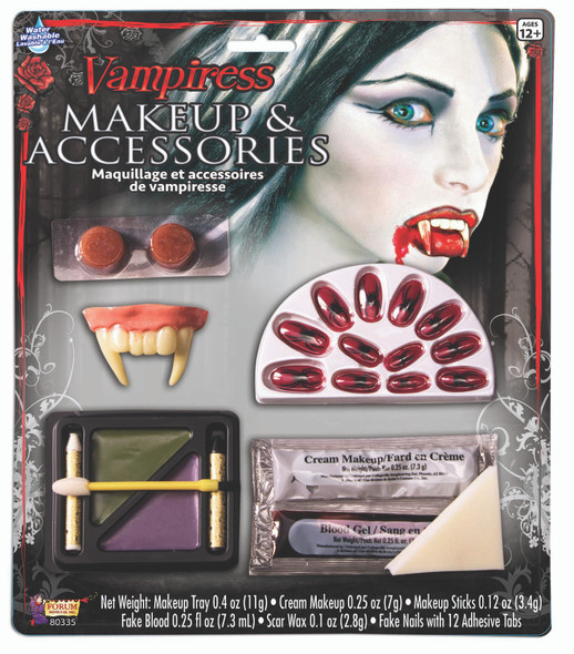 Bloody Vampiress Makeup & Accessories Kit Nails Teeth Blood Halloween Accessory