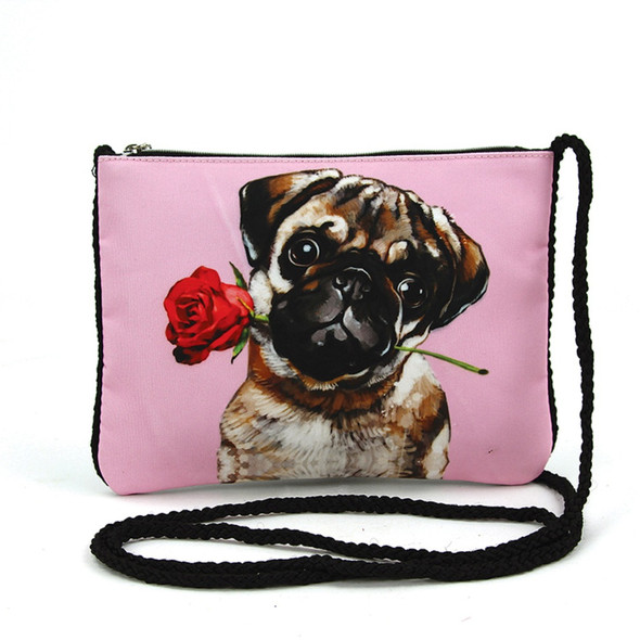 Pug in Love Xbody Pouch Crossbody Purse Clutch Bag Rose Dog Pink Polyester