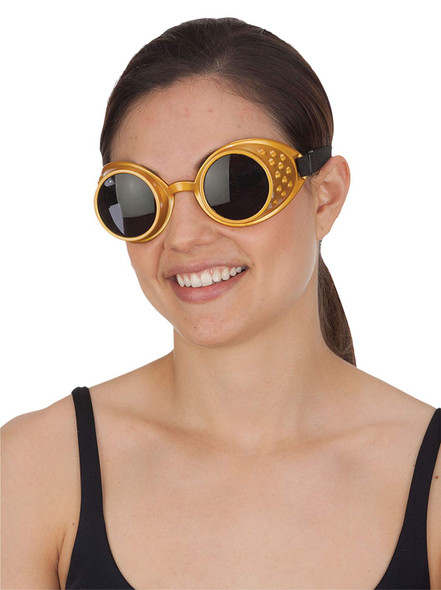 Gold Victorian Steampunk Goggles Glasses Mens Cyber Adult Costume Accessory