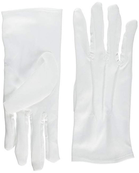 "8"" White Gloves with Snaps Halloween Costume Accessory Adult Theatrical Clown"