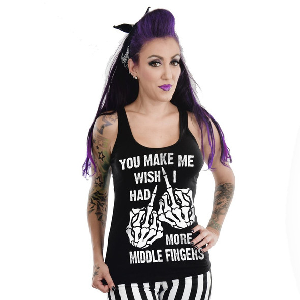 Too Fast You Make Me Wish I Had More Middle Fingers Racerback Tank Womens SM-XXL