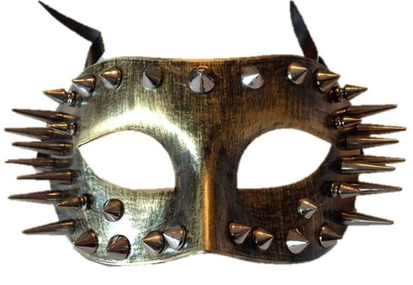Antique Gold Finish Eye Mask Silver Spikes Adult Dominatrix Costume Accessory