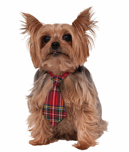 Christmas Dog Necktie Neck Tie Red Plaid Festive Holiday Costume Accessory  Pet
