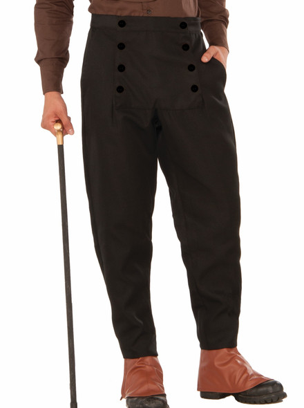 Men's Black Steampunk Pants Medieval Button Design Costume Accessory Std