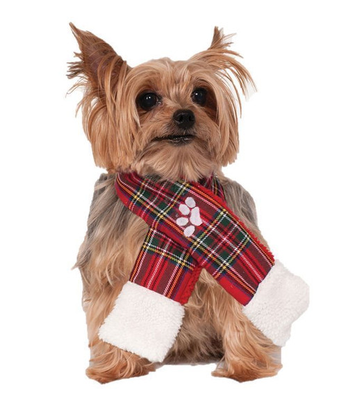 Christmas Dog Scarf Red Plaid Paw Print Festive Holiday Costume Accessory New