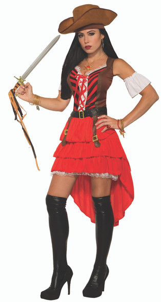 Lady Pirate Vixen Dress Caribbean Buccaneer Wench Adult Women's Costume STD