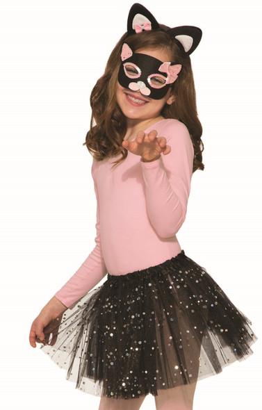 Black Pink Sequins Cat Kit Headband Ears Mask Tutu Kids Girls Costume Accessory