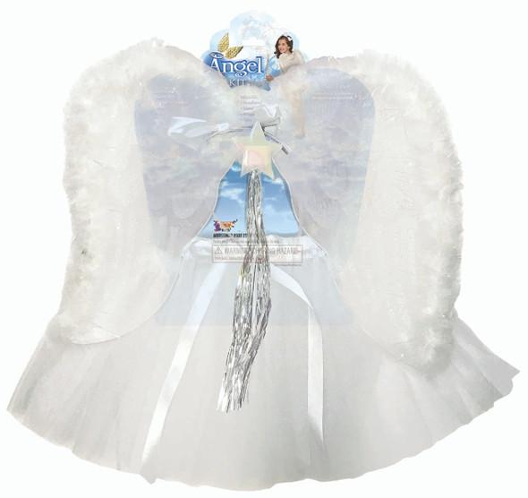 White Angel Kit Headband Wand Wings Tutu Kids Girls Costume Accessory 4-6