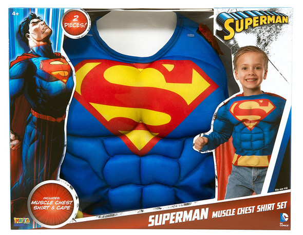 DC Comics Superman Costume Muscle Chest Top Cape Superhero Boys Child 4-6