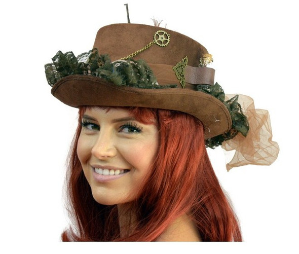 Deluxe Brown Steampunk Top Hat Victorian Adult Feathers Chains Mini Bottle