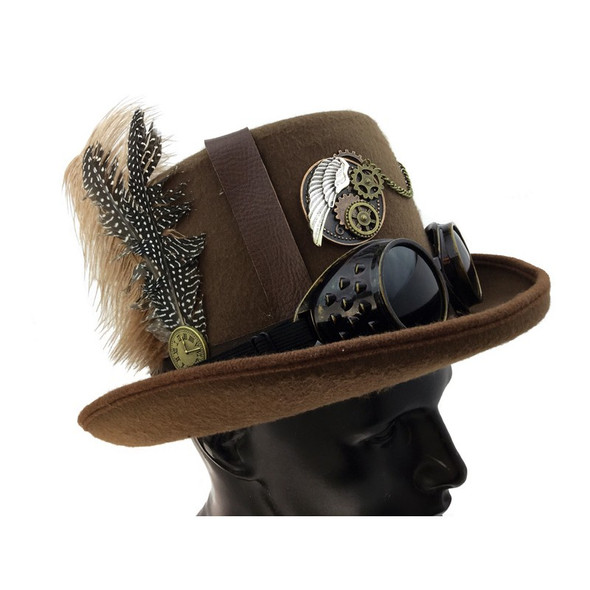 Deluxe Brown Steampunk Top Hat Victorian Adult Feathers & Goggles Costume Acces.