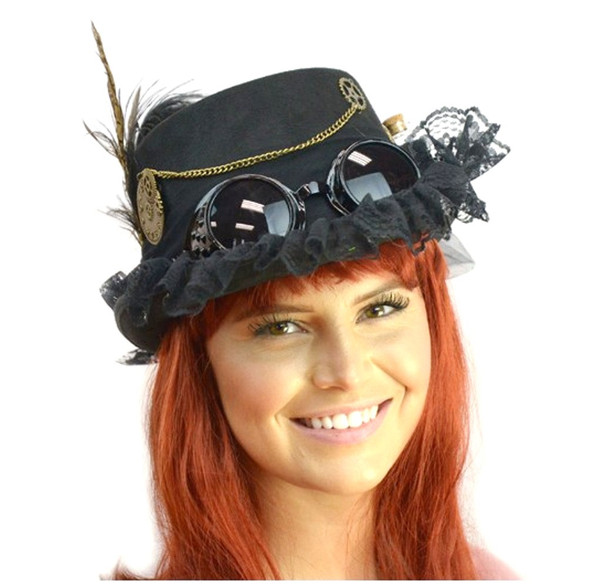 Deluxe Black Steampunk Costume Top Hat Victorian Adult Feather Chain Mini Bottle