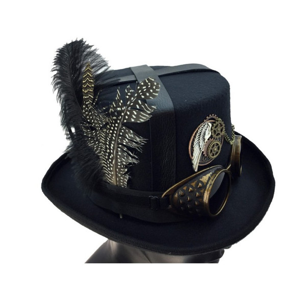 Deluxe Black Steampunk Top Hat Victorian Adult Feathers & Goggles Costume Acces.
