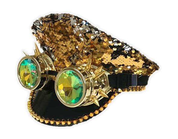 Gold Silver Reversible Sequin Captain Hat Kaleidoscope Goggles Rave Burning Man