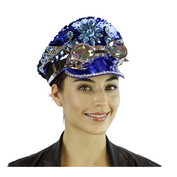 Reversible Blue Silver Sequins Captain Hat Rave Burning Man Kaleidoscope Goggles