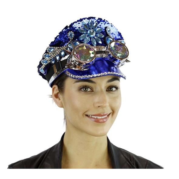 Reversible Blue Silver Sequins Captain Hat Rave Burning Man Kaleidoscope Goggles