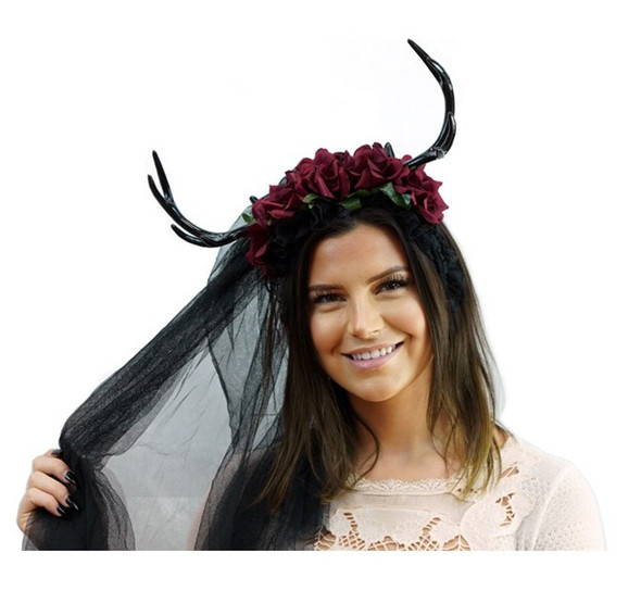 Black Floral Antlers Headband Veil Mystical Creature Animal Fairy Horns Adult