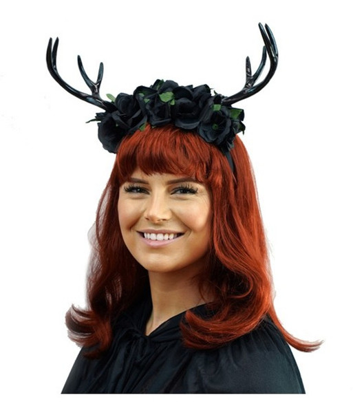 Black Deer Floral Antlers Headband Mystical Creature Animal Fairy Horns Adult