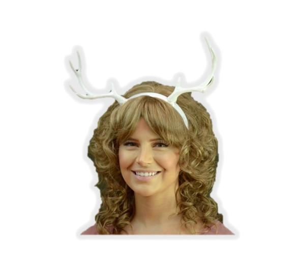 White Deer Antlers Headband Faun Creature Animal Reindeer Fairy Horns DIY