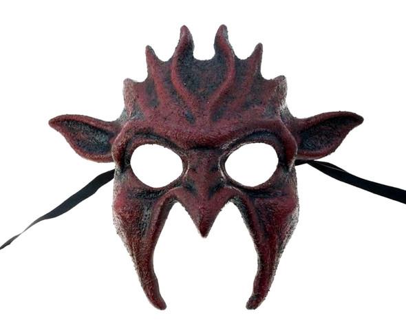 Bloody Red Goblin Devil Half Mask Adult Dark Gothic Halloween Costume Accessory