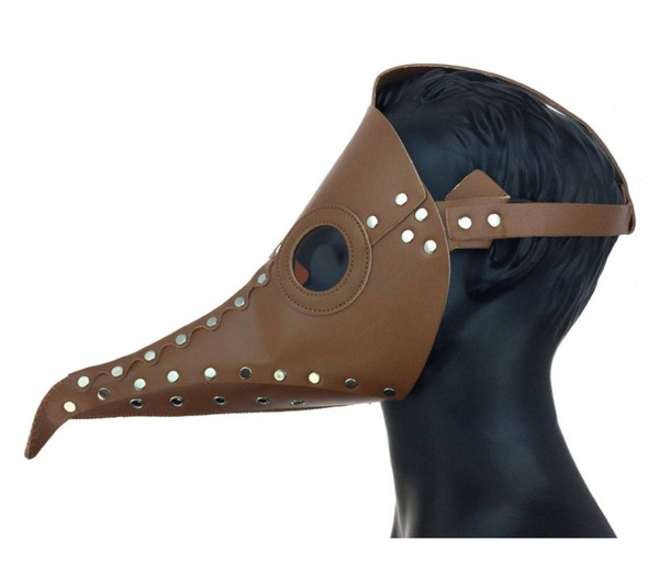 Brown Steampunk Mask PU Leather Silver Rivet Dr. Peste Plague Curved Beak Nose