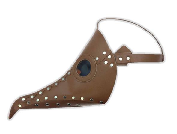 Brown Steampunk Mask PU Leather Silver Rivet Di Venezia Plague Curved Beak Nose