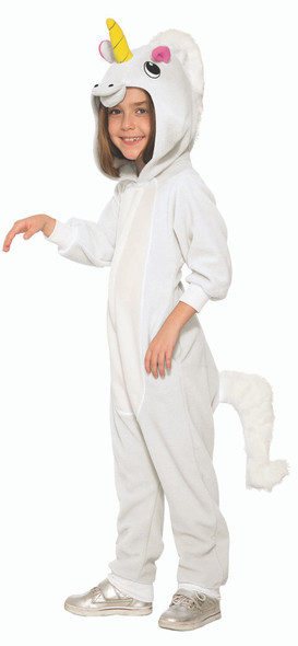 Mystical White Unicorn Child Costume Hooded Jumpsuit Small 4-6 w Pockets