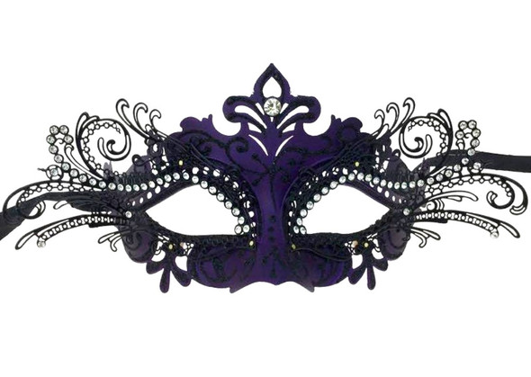 Black Purple Laser Cut Half Mask Clear Crystals Glitter Costume Accessory Adult