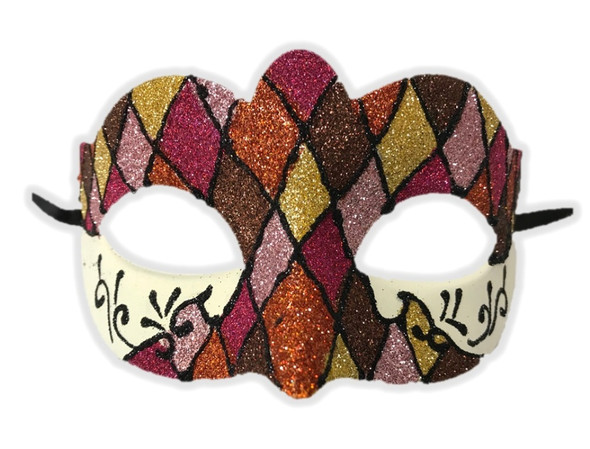 Argyle Glitter Half Mask Mardi Gras Masquerade Costume Accessory Harlequin B