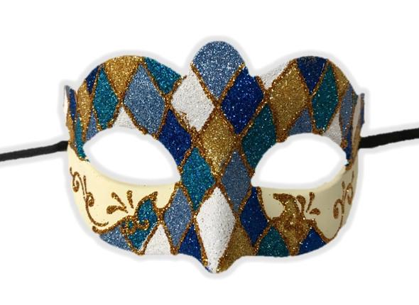 Argyle Glitter Half Mask Mardi Gras Masquerade Costume Accessory Harlequin A