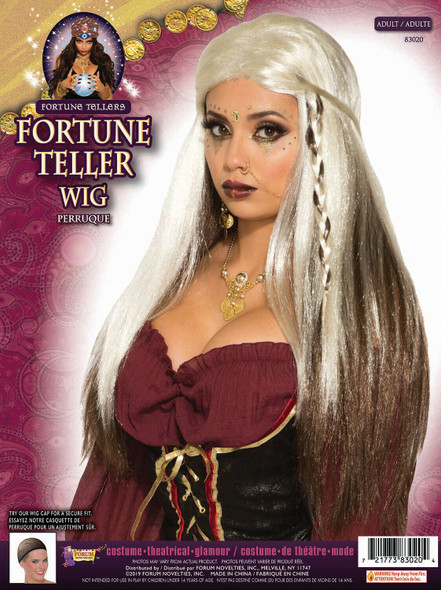 Fortune Teller Wig Long White & Brown Adult Mystic Gypsy Costume Accessory New