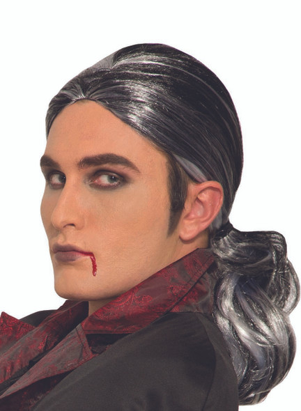 Men's Gothic Prince Vampire Wig Black White Adult Halloween Costume Accessory