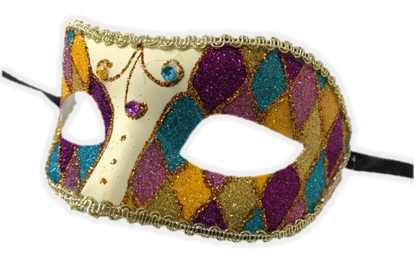 Argyle Glitter Half Mask Venetian Masquerade Costume Accessory Harlequin A