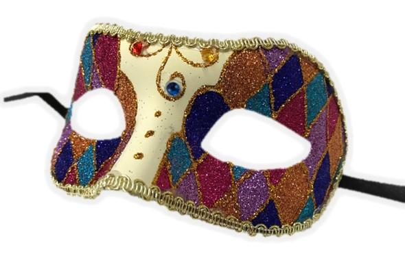 Argyle Glitter Half Mask Venetian Masquerade Costume Accessory Harlequin C