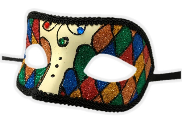 Argyle Glitter Half Mask Venetian Masquerade Costume Accessory Harlequin D