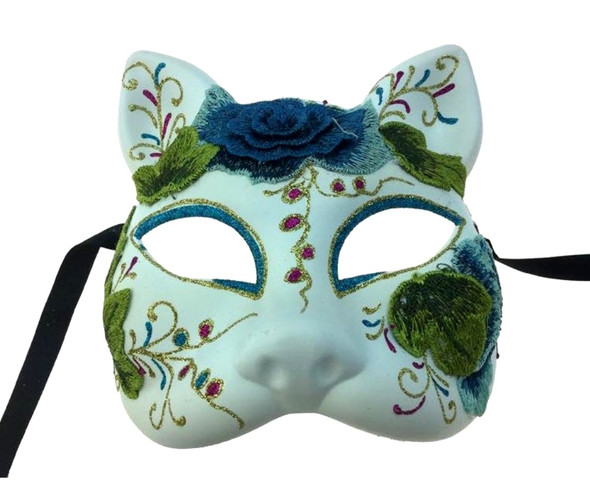 DOD Cat Costume Half Mask Animal Blue Embroidered Flowers Adult Masquerade