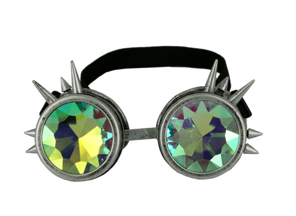 Silver Spiked Steampunk Costume Goggles Kaleidoscope Glasses Mens Rave Cyber