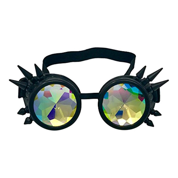 Black Spiked Steampunk Costume Goggles Kaleidoscope Glasses Mens Rave Cyber