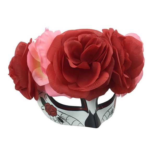 Day Of The Dead Sugar Skull Half Mask Halloween Spiderweb Red Pink Flowers Women