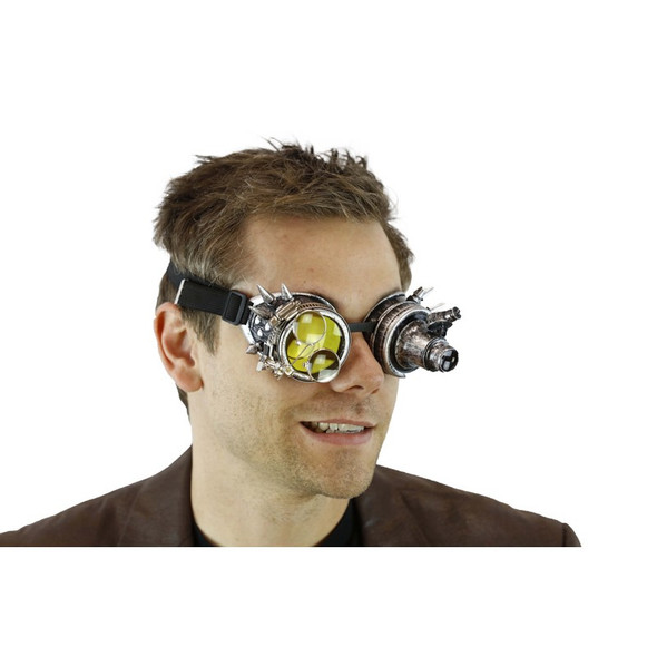 Antique Silver Steampunk Light-Up Goggles Magnifier 12/72 Adult Festival Glasses