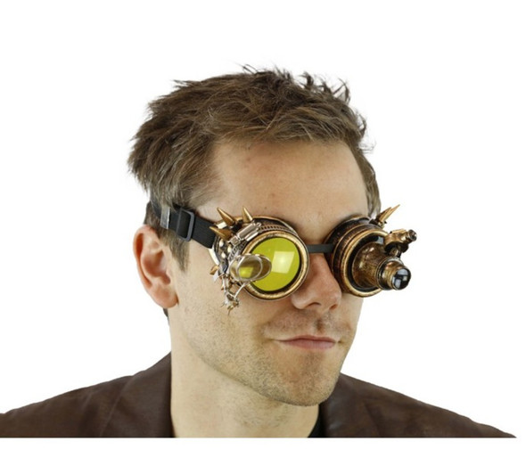 Antique Gold Steampunk Light-Up Goggles Magnifier 12/72 Adult Festival Glasses