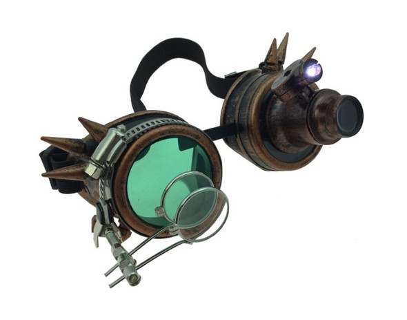 Copper Steampunk Light-Up Goggles Magnifier 12/72 Adult Festival Glasses Cyber