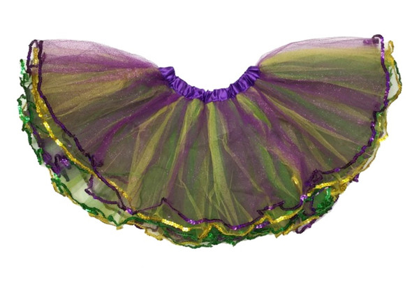 Mardi Gras Glitter Tutu Skirt Womens Girls Green Purple Yellow Petticoat M
